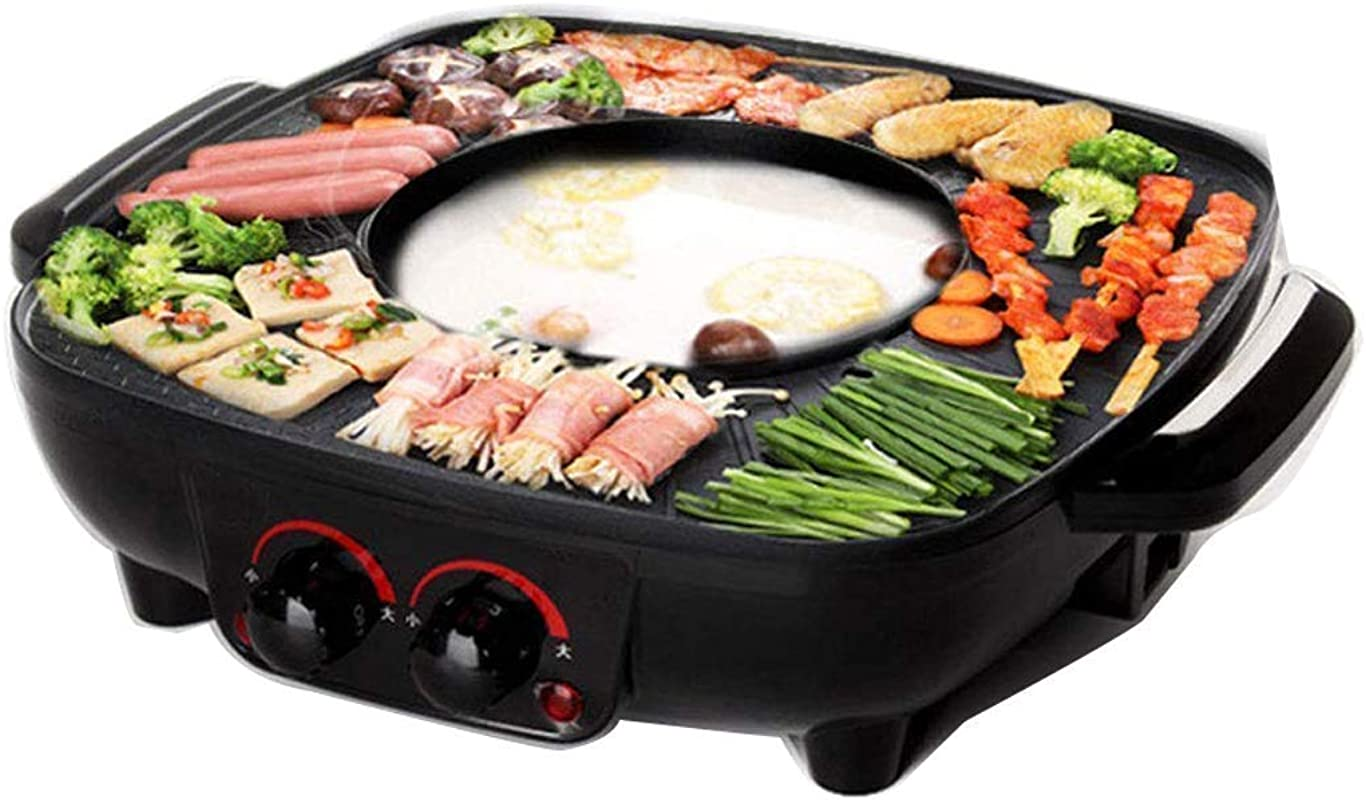 Grill And Hot Pot Double Pot Integrated Cooking Pot 40 5 Cm Grill Plate Electric Grill Barbecue And Asia Fondue 1700 W Black