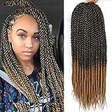 Jumbo Twist Crochet Hair 24 Inch Big Havana Twist Crochet Hair 6 Packs Senegalese Crochet Twist Hair Brown Color Synthetic Braiding Hair Extensions 13Roots/Pack (24inch, T27)