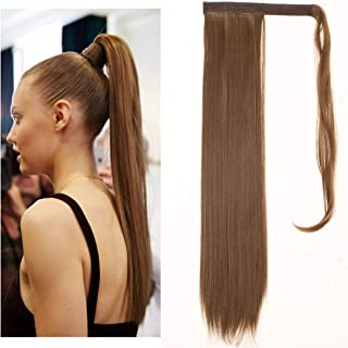 SARLA Straight Long Ponytail Hair Extension Clip in Wrap Around Synthetic Brown Fake Pony Tail Hairpiecs Hair Piece For Women Heat-Resisting Fiber 24