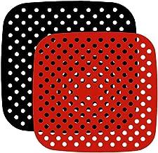 HEMOTON 2 peças de forros de fritadeira a ar perfurada reutilizável para fritadeira a ar perfurada de 19 cm, tapete de fri...