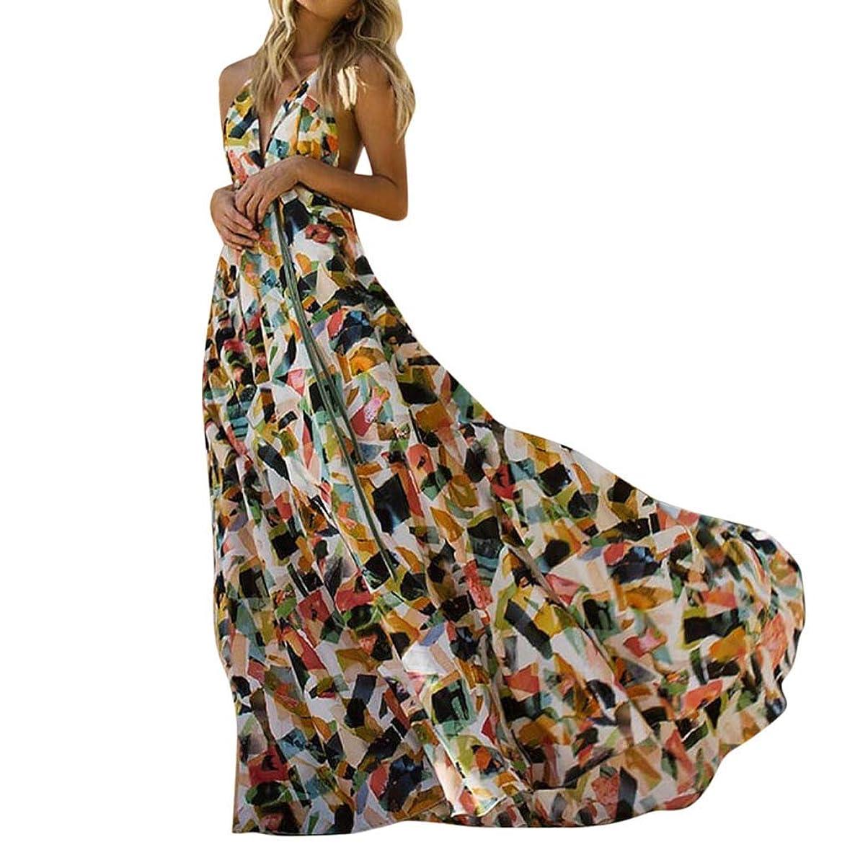 Tomppy Women Sleeveless Maxi Dresses Summer Sexy V-Neck Backless Geometry Block Printed Bandage Flowy Floor-Length Dress