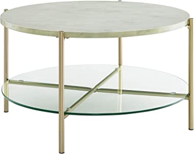 Walker Edison Furniture Modern Round Coffee Accent Table Living Room, 32 Inch, White Marbl, Gold