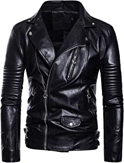 Men's Faux Leather Jacket Motorcycle Lapel Bomber Punk Irregular Zipper Jacket Black Slim