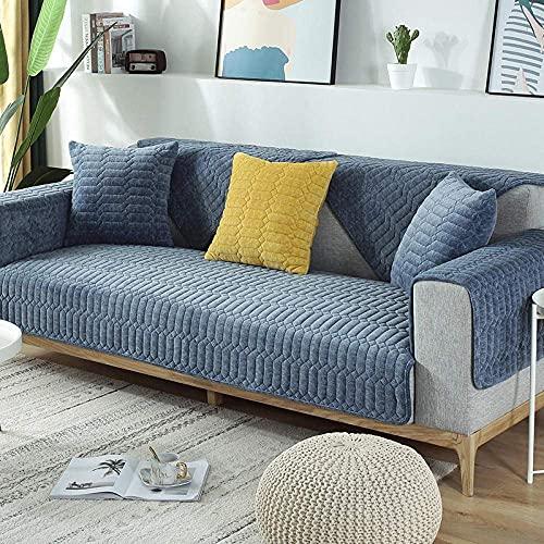 L.TSA Funda para sillón Funda elástica para sofá, Felpa Gruesa para sofá Toalla Cojín Celosía Antideslizante para sofá Cama Funda-Blue_70x150cm, Funda elástica para sofá de Tela elástica