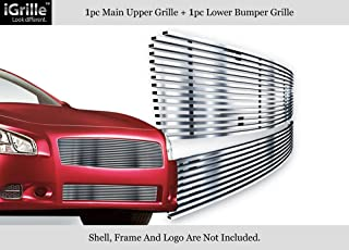 APS 304 Stainless Steel Billet Grille Combo Compatible with 2009-2014 Nissan Maxima Chrome Polished RE-N87774S