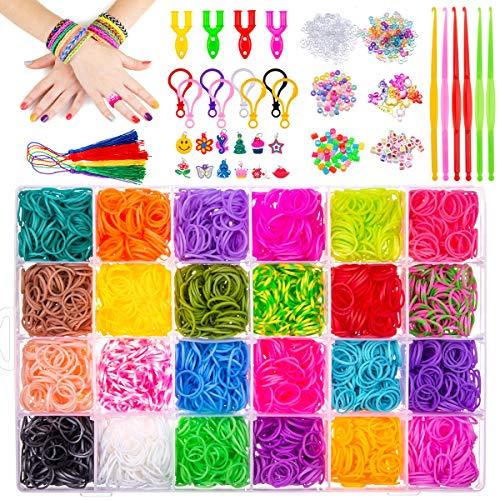 MELLIEX 5000+ DIY Elastici Loom Nastri, 24 Gommini Elastici Colorati, Kit Completo Elastici di Gomma per Fare Braccialetti Lavorare a Maglia Giocattolo per Bambini