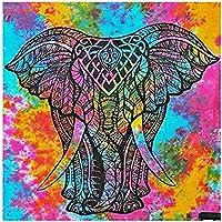 JXRDG 5Dフルスクエアダイヤモンド絵画カラフルな象、クロスステッチダイヤモンド刺繡動物装飾ホーム40x40cmフレームなし