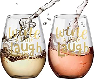 Custom Stemless Wine Glass Set of 2 - Wine a Little, Laugh a Lot, 20- Ounce, Fun and Personalized Gift, Ideal for Red and White Wine, Kitchen Glassware and Party, Dishwasher-Safe -Amallino