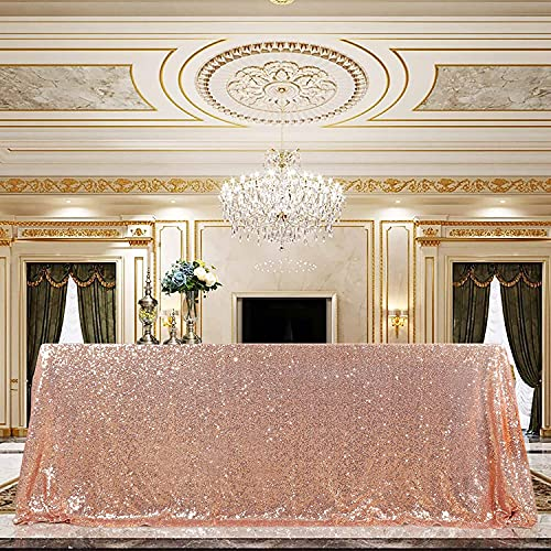 Sequin Tablecloth 90x132 Rose Gold Party Tablecloth Rectangular Seamless Sequin Table Cover Overlay Glitter Wedding Birthday Bridal Shower Decorations