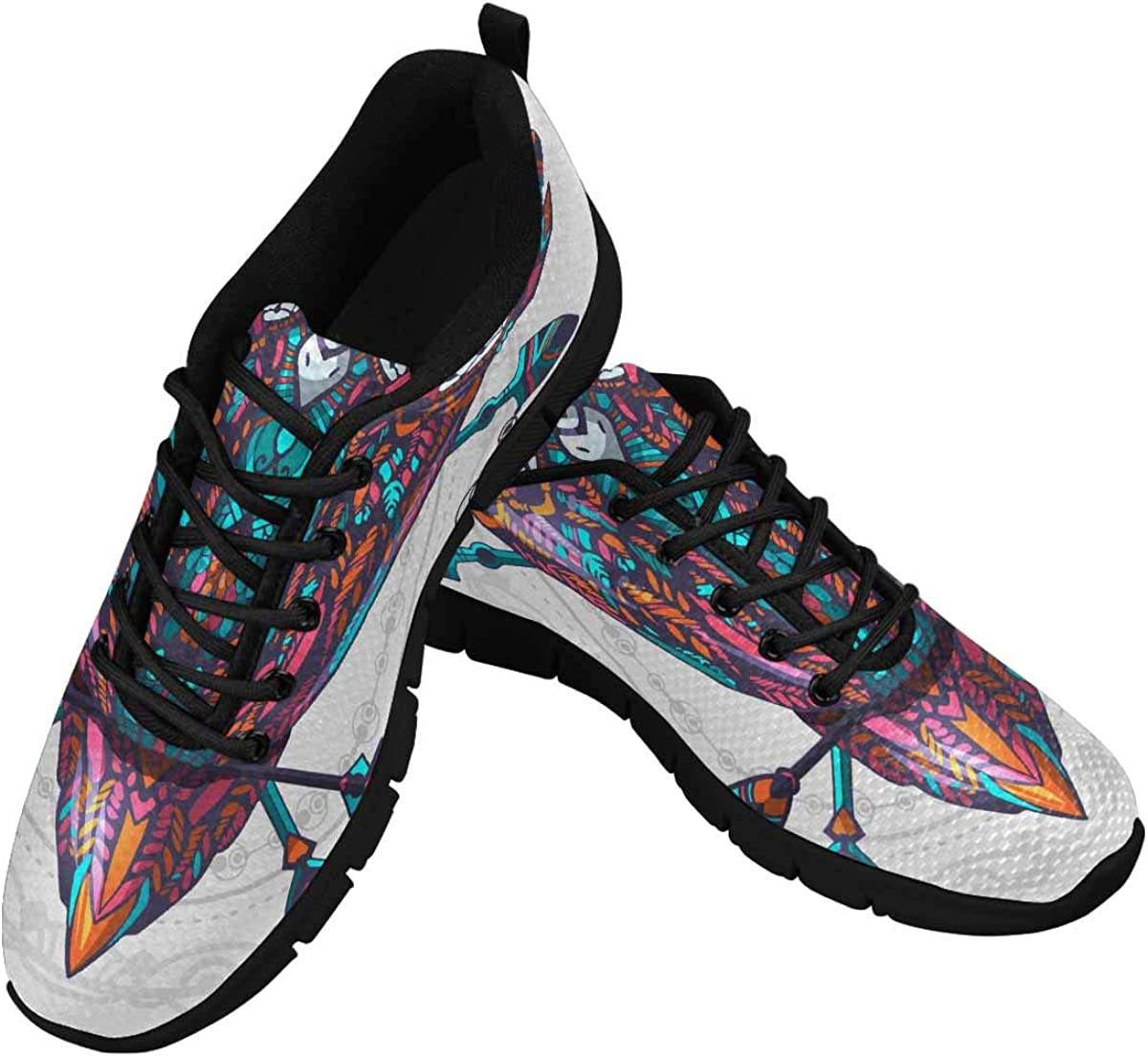 InterestPrint Boho Style Colored Owl with Tribal Arrows Women's Lace Up Running Comfort Sports Sneakers