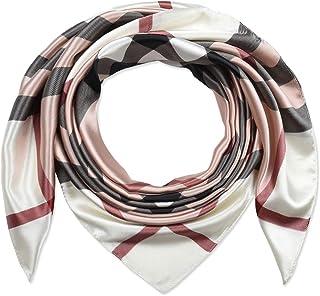 35 بوصة المرأة مربع الحرير يشعر الأوشحة وشاح الرأس للنوم المشمش الوردي شبكات