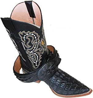 Mens Western Cowboy Leather Crocodile Print (Embossed) Boots/Free Belt