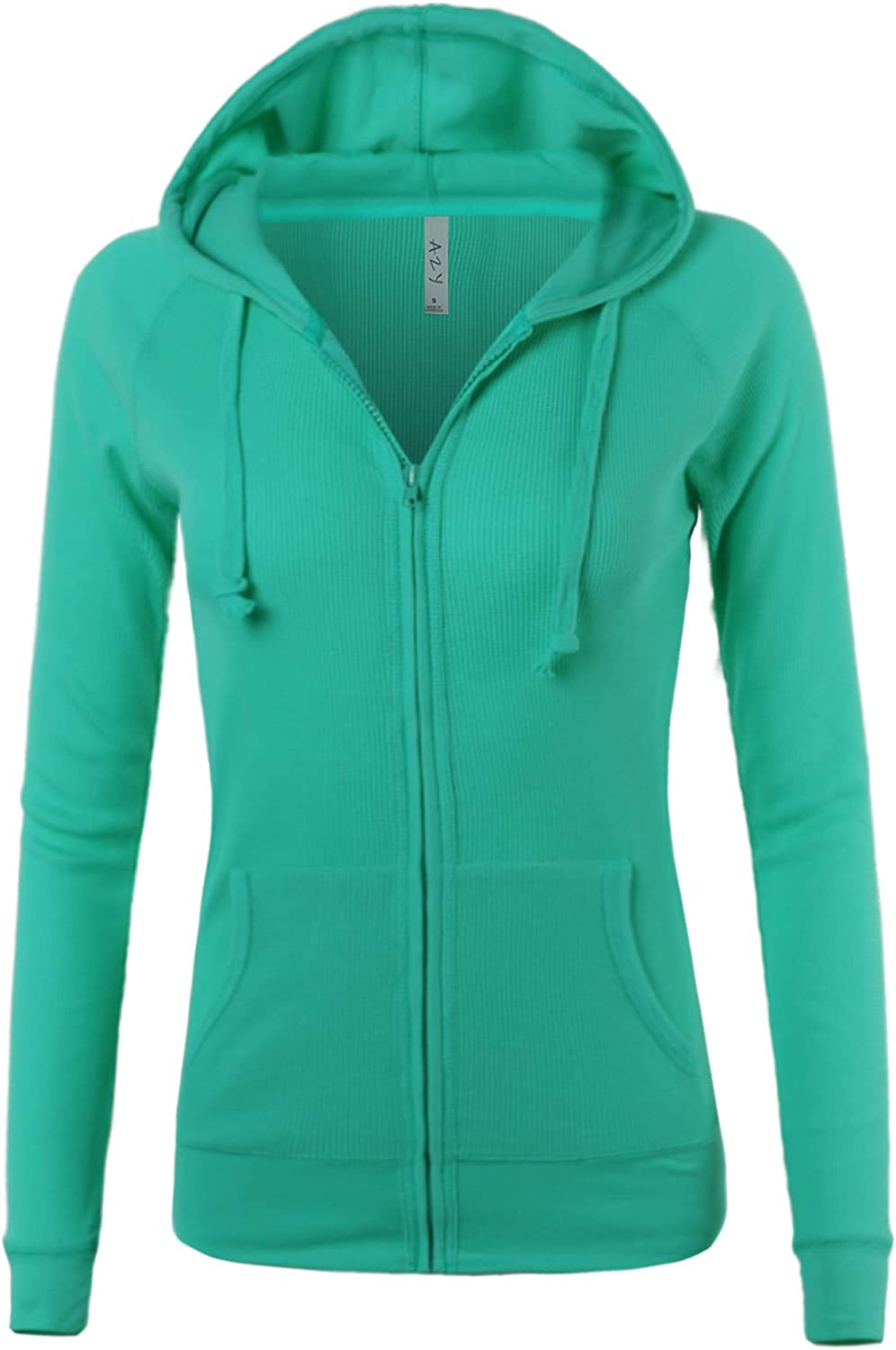 A2Y Women's Casual Lightweight Fitted Zip Up Thermal Hoodie with Drawstring