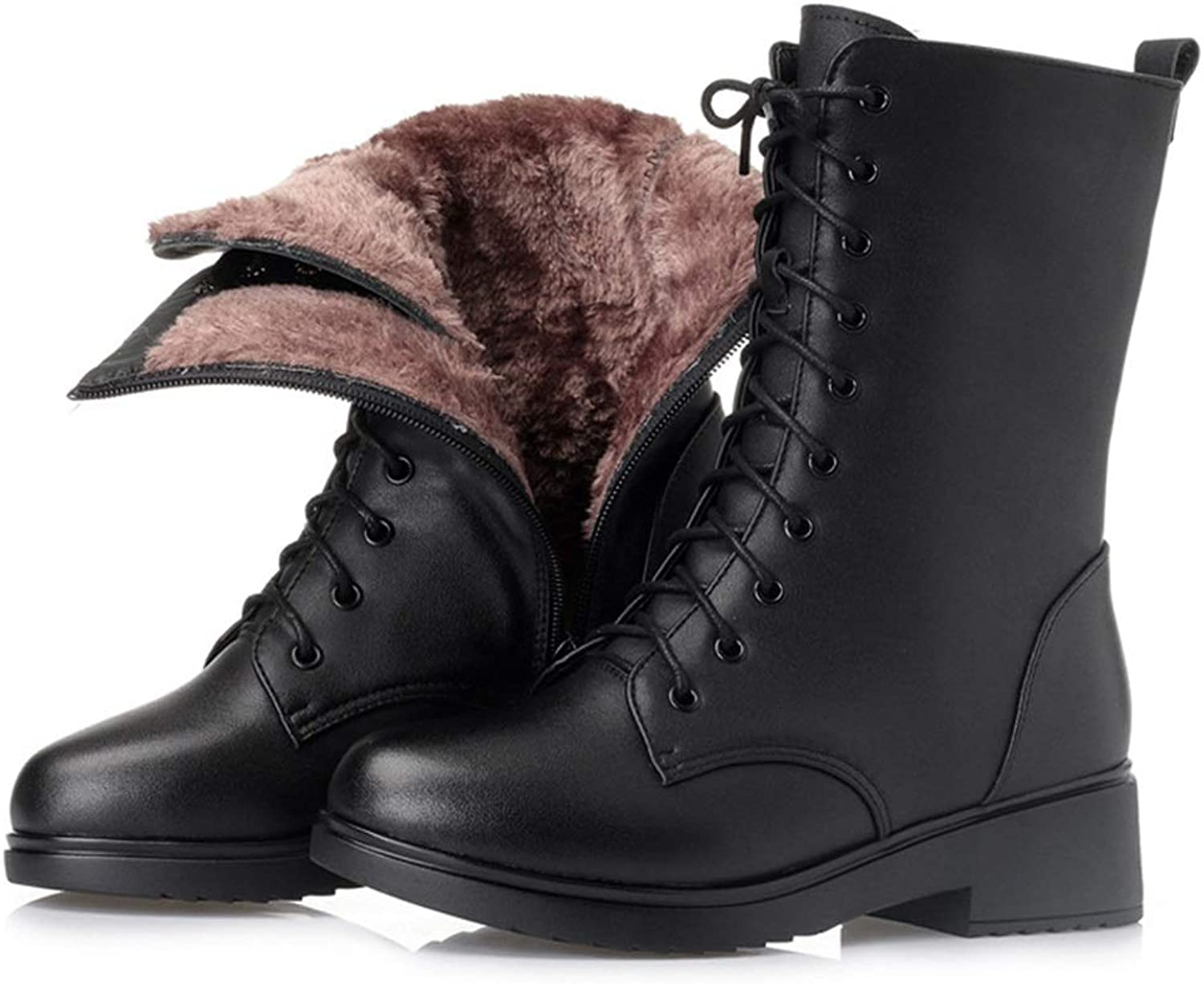 Women's mid-Boots, Winter Boots Velvet Boots Mid-Heeled Women's shoes British Style Martin Boots New Military Boots (color   A, Size   41)