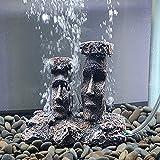 Decoración de acuario de piedra de aire, decoración de peces, tamaño pequeño, accesorios de peces, esconderse de isla de Pascua, estatuas de Moai (gris)