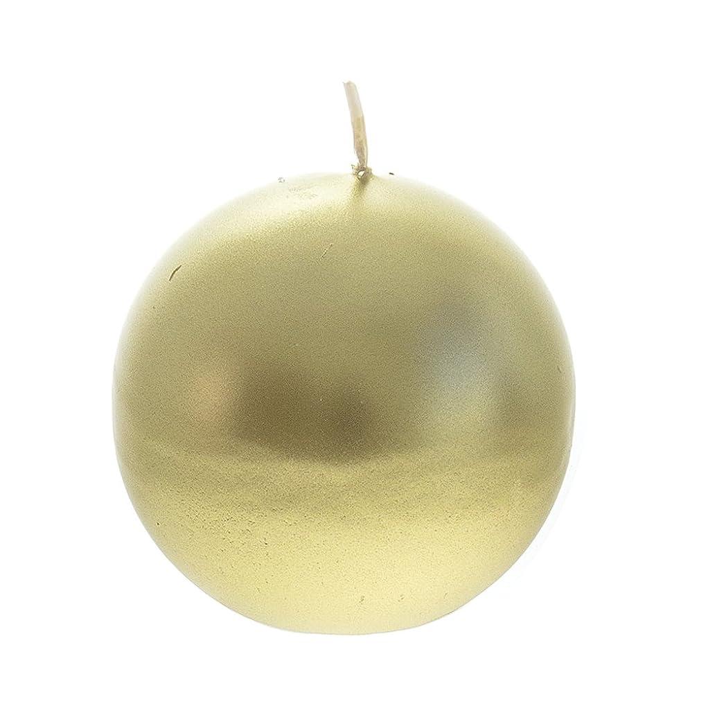 狂った無限モーターMega Candles - Unscented 7.6cm Hand Poured Round Premium Ball Candle - Gold