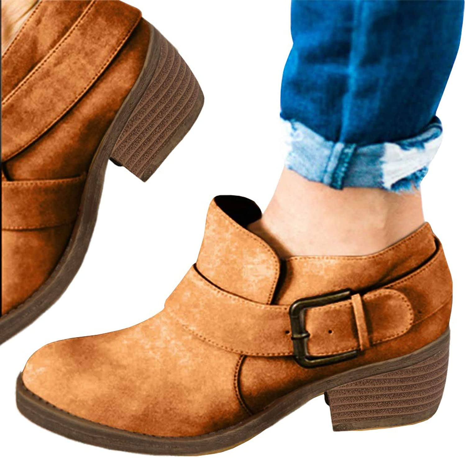 Cicy Bell Womens Ankle Fall Boots Buckle Strap Almond Toe Block Heel Chunky Slip on Booties