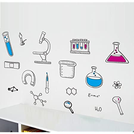 SCIENCE ROBOT wall stickers MURAL 15 giant decals Chemistry Atoms 4 feet tall