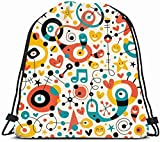 DHNKW Drawstring Backpack String Bag 14X16 Motion Play Music Fun Pattern Workbook Sing Star Graphic Retro 60S 50S Creative Flow Party Sweet Note Modern Sport Gym Sackpack Hiking Yoga Travel Beach