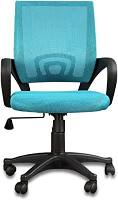 HomeTown Bolton Mesh & Nylon Low Back Office Chair in Blue Color
