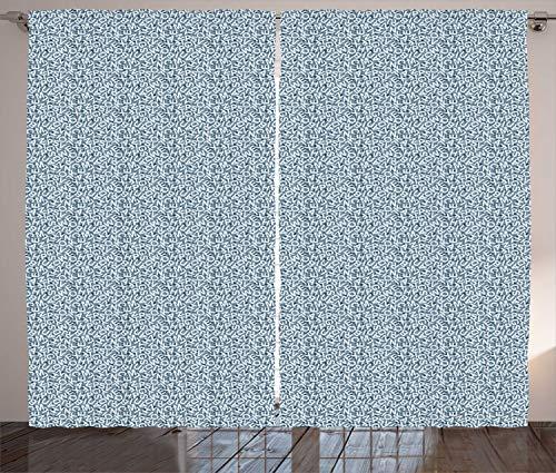ABAKUHAUS Alfabeto Cortinas, Tonos Azules del revoltijo Cartas, Sala de Estar Dormitorio Cortinas Ventana Set de Dos Paños, 280 x 175 cm, Azul Gris Azul bebé