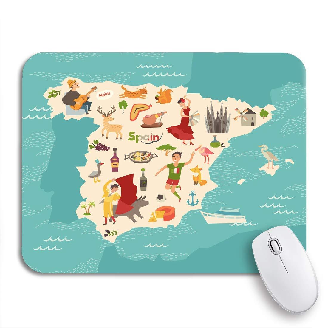 AIMILUX Alfombrilla Raton Alfombrilla Gaming Alfombrilla,Mapa de España de Atlas Infantil de Dibujos Animados para niños,Base de Goma Antideslizante para Laptop con computadora y PC: Amazon.es: Electrónica