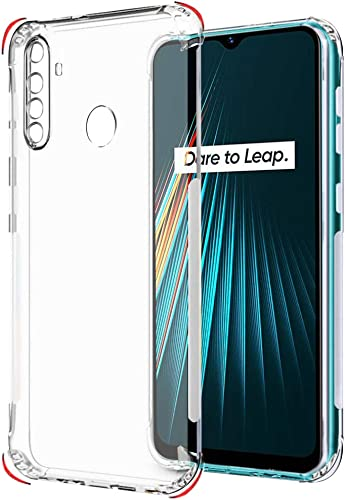 Thegiftkart Best Camera Protection Back Cover Case For Realme 5 5I 5S Narzo 10 Transparent Ultra Clear Soft Case Slim Protective Design Inbuilt Dust Plugs Anti Slip Grip Transparent