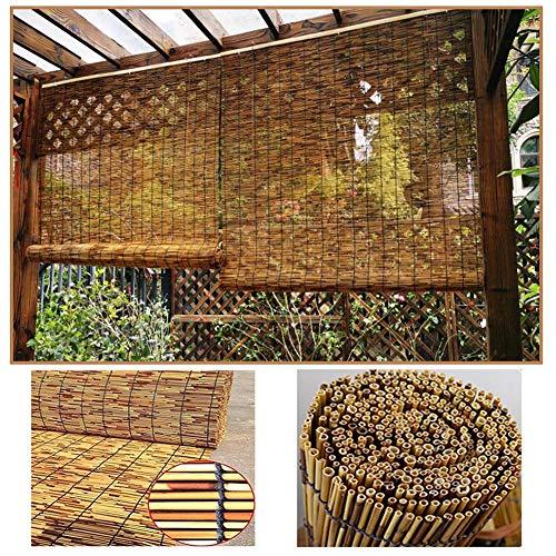 SHXF Natur Bambus-Rollo Bambusraffrollo für Fenster und Türen, Jalousie aussenbereich, abdunkelnd, wasserdicht, wetterfest