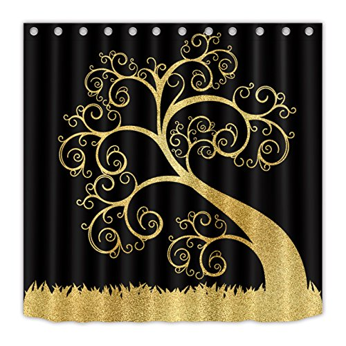 Black Background with A Gold Tree Shower Curtain