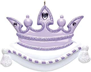 Personalized Princess Crown Christmas Tree Ornament 2019 - Beautiful Glitter Heart Rhinestone White Monarch Pillow Cute Fairy-Tale Treasure Kid Pixie Toy Gift - Free Customization (Purple)