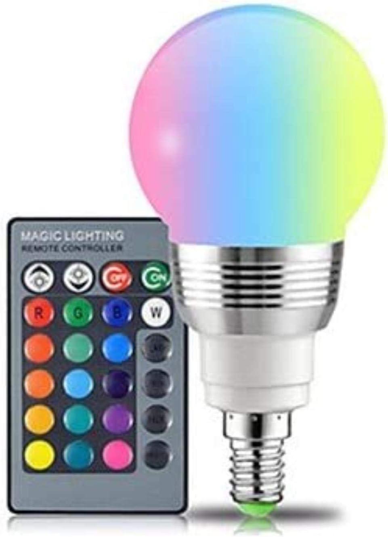 XXT Remota de Bulbo de lámpara de Color Que Cambia la Bombilla LED de Colores RGB del Bulbo de la lámpara del Bulbo Mesa de Ping Pong (3Pack) (Color : RGB+White, Size : E14)