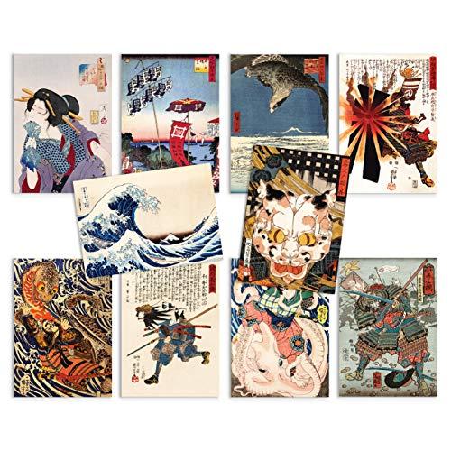 Tarjetas postales japonesas Ukiyo-e Art Set de 10 – Paquete de tarjetas postales de madera de regalo (juego de tarjetas 1)
