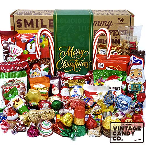 CHRISTMAS CANDY CARE PACKAGE LOADED XMAS GIFT BOX Filled With Milk Chocolate Santas, Snowman, Trees, Seasonal Foil Candies! PERFECT For Girl Boy Woman Man Kids College Students Adults - 95 PIECES