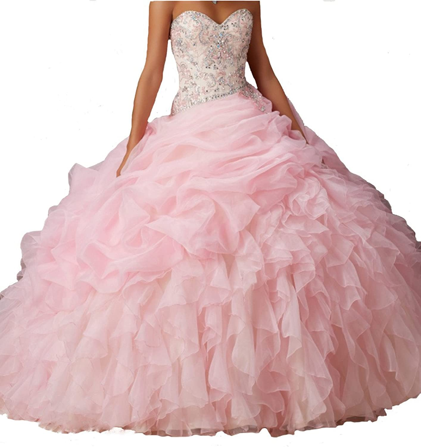 PuTao Women's Sweetheart Beads Princess Sweet 15 Quinceanera Dresses