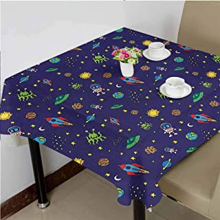 dsdsgog Outdoor Picnics Doodle Style Cartoon Rocket Astronaut and UFO Alien Life Forms Earth Heavenly Bodies,50x50 inch Waterproof Square Tablecloth