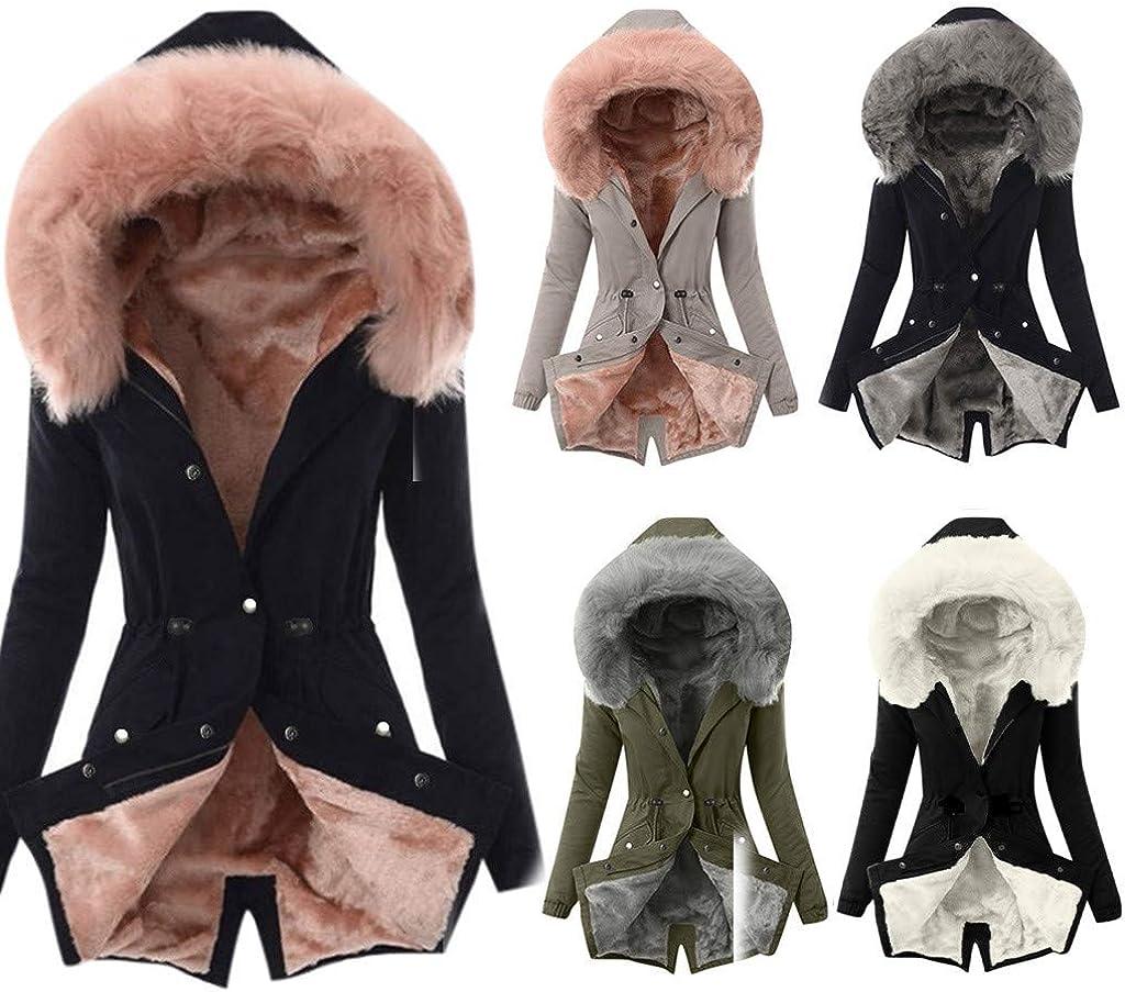 BEAUTYFYOU Winter Warm Overcoat for Women Faux Fur Lining Coat Thick Windbreaker Snow Jacket Outdoor Hooded Outwear