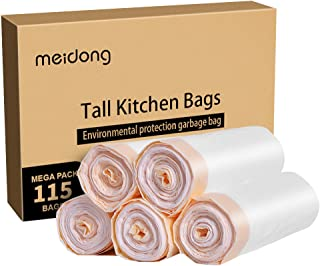 meidong Trash Bags, Garbage Bags 13 Gallon Large Tall Kitchen Drawstring Strong Bags For Trash Can Garbage Bin, 5 Rolls/115 Counts