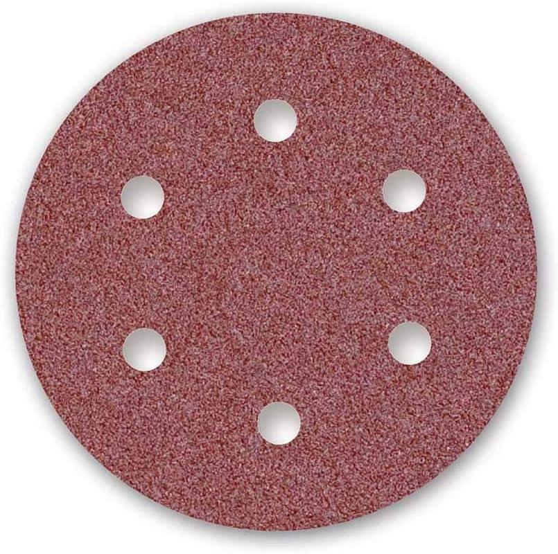 Grano 16 6 Agujeros Corind/ón Normal 10 Piezas 225 mm para Lijadoras de Pared MENZER Red Discos Abrasivos con Velcro