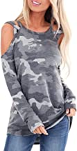 LIM&SHOP Women's Long Sleeve Crew Neck Fit Casual Sweatshirt Pullover Tops Shirt, Camouflage Printing O-Neck Blouse
