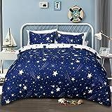 Star Bedding Duvet Cover Set with Zipper Closure, 90 X 90,Lightweight Comforter Quilt Cover Set