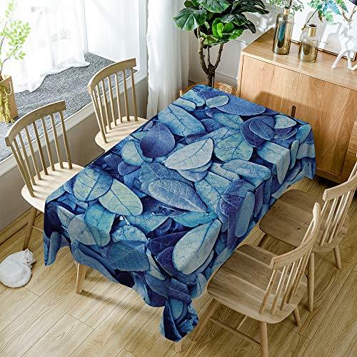 Tafelkleed blauw, rechthoekige bladeren, modern minimalisme, polyester kreukvrij waterdicht, groot formaat (wit) 140 * 140 cm