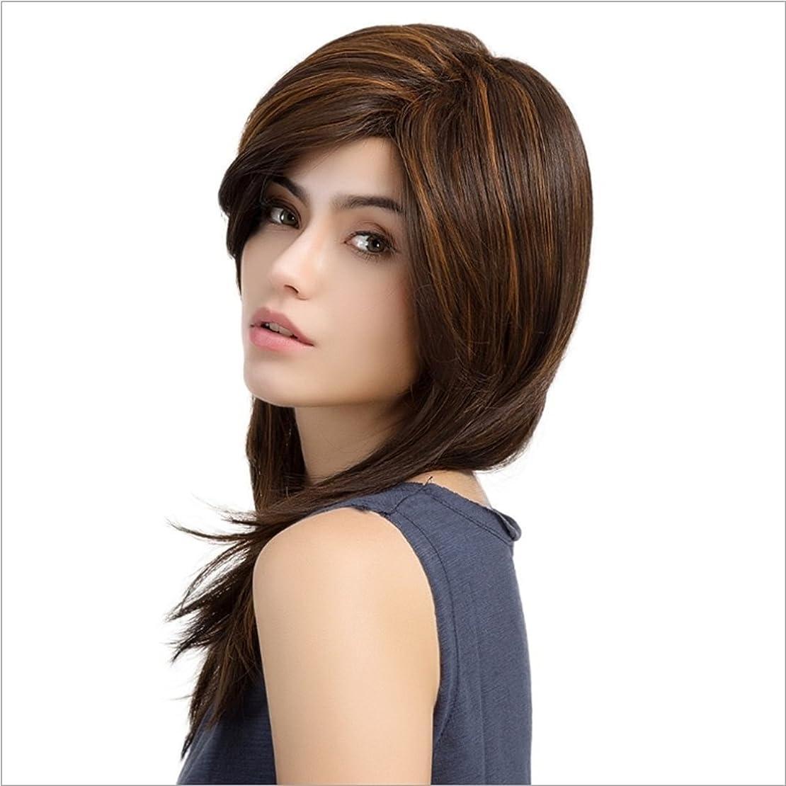 振幅カエルすることになっているかつら マイクロボリュームストレートかつら女性のためのロングナチュラルカラーライトブラウンハイライトかつら斜め前髪かつら長さ50cmファッションかつら (色 : Light brown highlight)