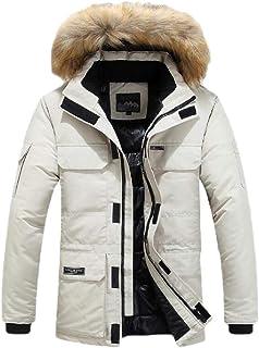 Mens Cotton Bomber Jacket Casual Lightweight Hooded Faux Fur Down Puffer Trucker Jacket
