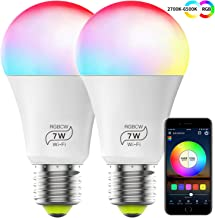 Smart Light Bulb (No Hub Required), Magic Hue Color Changing A19 E27 7W (60w Equivalent) RGBCW LED WiFi Light Bulb, Compatible with Alexa Google Home Siri IFTTT (2 Pack)