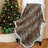 Catalonia Classy Sherpa Decke Kuscheldecken, Extra Dicke Warm Sofadecke Couchdecke in zweiseitig, Super Flausch Fleecedecke als Sofaüberwurf oder Wohnzimmerdecke 150x130cm, Gepard Muster