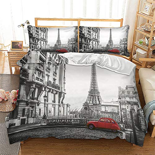 Paris Stadt 3D Print Betten Set EEiffelturm Bettwäsche Set Microfaser Himmlische Qualität Grau Modern City Landschaft Bettbezug mit 1 Kissenbezug 2 teilig 135x200cm + 80x80cm Jungen Mädchen Kinder