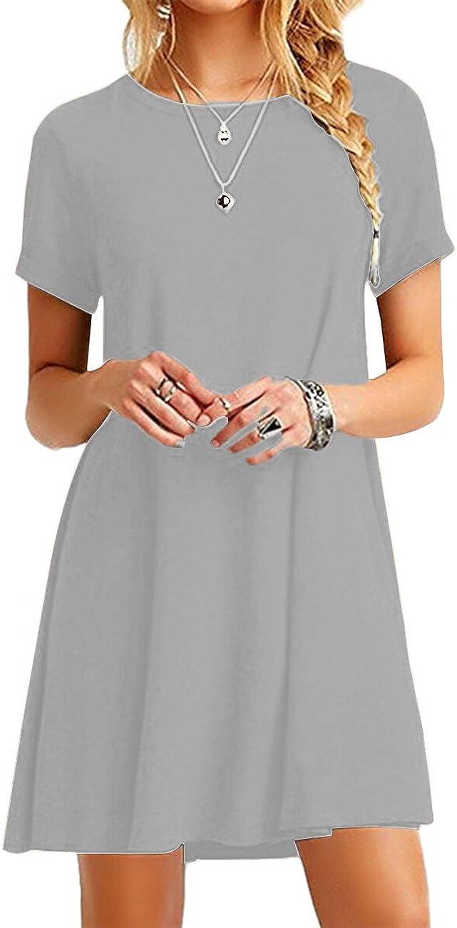 YMING Women Summer Casual T Shirt Dresses A Line Swing Simple Multicolor Mini Dress Plus Size