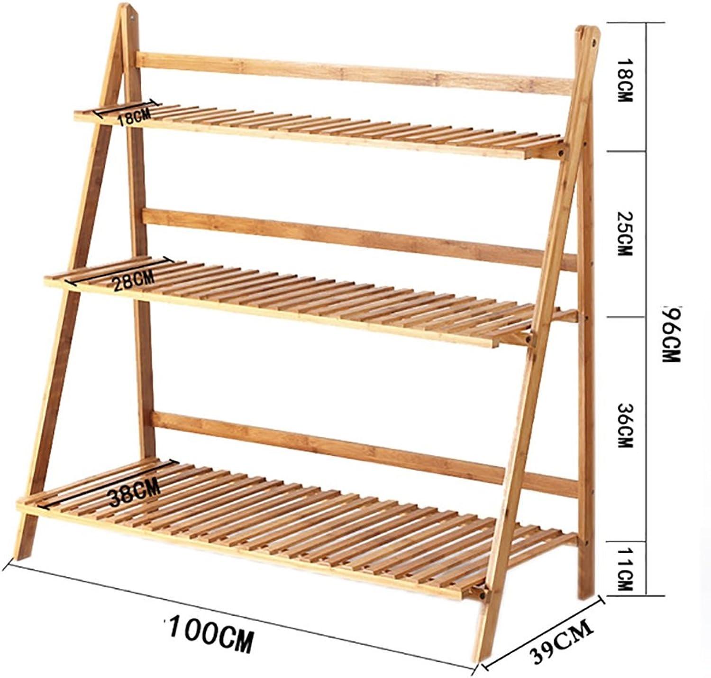 NYDZDM 3 Tier Folding Flower Shelf Flowerpot Rack Indoor Solid Wood Plant Stands Garden Holder Display Shelf Ladder Outdoor (Size   100  39  96cm)