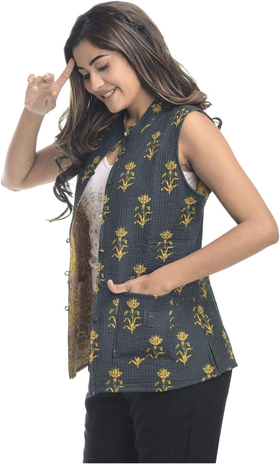 Apratim Cotton Women,Girl Party Wear/Wedding Quilted Reversible Jacket Black and Yellow Color