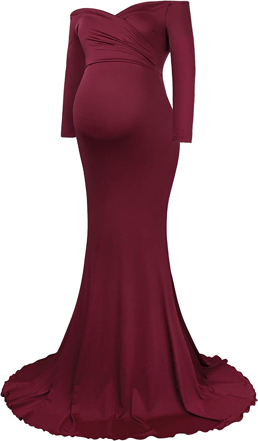 Molliya Maternity Long Dress Off Shoulder Elegant Fitted Gown Stretchy Maxi Photography Dress: Clothing